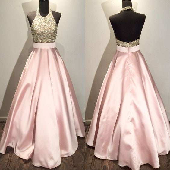 Halter Pink Open Back Beaded Top Long Prom Dresses, PM0015 - Prom Muse