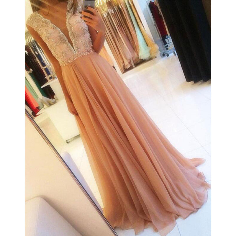 A Line Deep V Neck Formal Affordable Long Evening Prom Dresses, PM0161 - Prom Muse