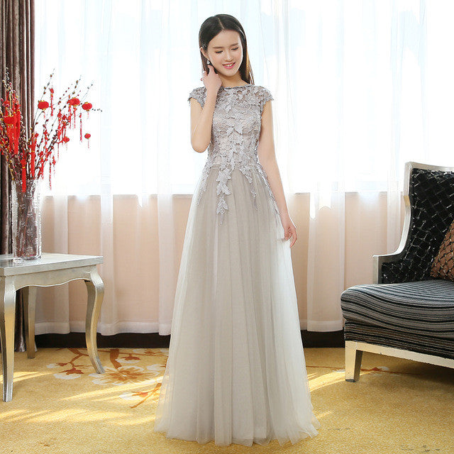Grey/Silver Cap Sleeve Applique Formal Long Prom Dresses, PM0162 - Prom Muse