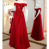 Red Off the Shoulder Applique Lace Pretty Long Prom Dresses, PM0164 - Prom Muse