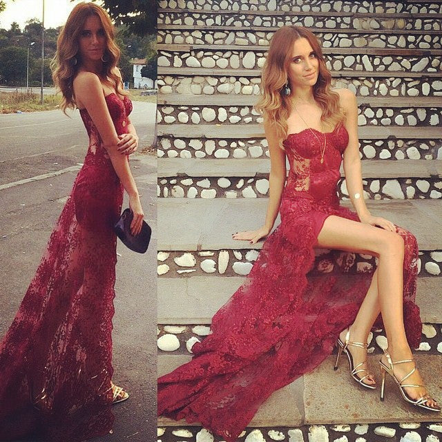 Burgundy Sexy Seen Through Sweetheart Long Lace Prom Dresses, PM0165 - Prom Muse