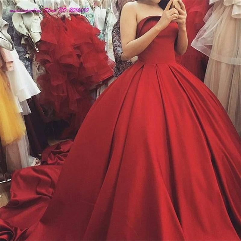 Red Strapless Gorgeous Long Ball Gown Evening Prom Dresses, PM0166