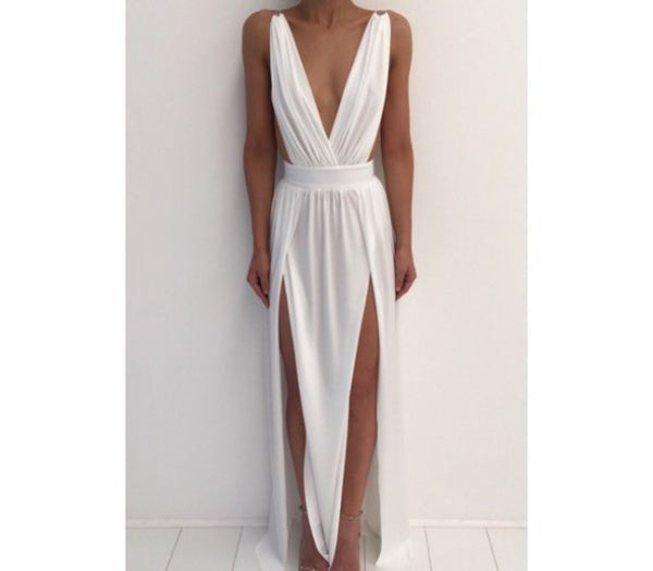 Cheap White Simple Sexy Split Beach Long Prom Dresses, PM0169 - Prom Muse