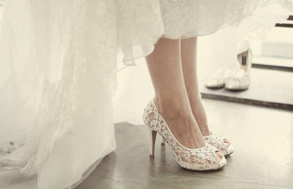Fashion Fish Toe Ivory Lace High Heels Wedding Bridal Shoes, S013 - Prom Muse