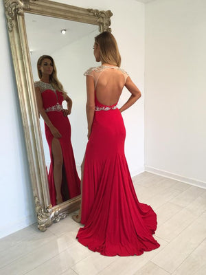 Red Cap Sleeves Open Back Split Long Prom Dresses, PM0170 - Prom Muse