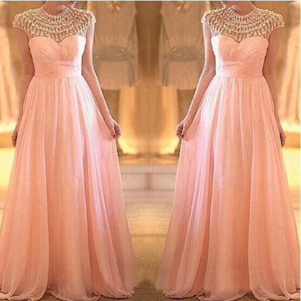 Cap Sleeves Beaded Top Blush Pink Long Prom Dresses, PM0171