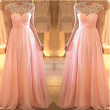 Cap Sleeves Beaded Top Blush Pink Long Prom Dresses, PM0171 - Prom Muse