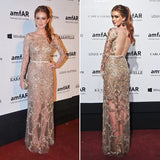 Beaded Sexy See Through Long Sleeves Shinning Prom Dresses, PM0173 - Prom Muse