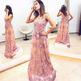Charming Unique Applique Formal A Line Long Prom Dresses, PM0174 - Prom Muse
