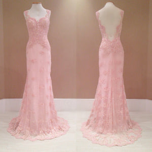 Pink Formal Long Cheap Lace Prom Party Occasion Dresses, PM0175 - Prom Muse