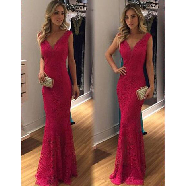 Red Lace V Neck Mermaid Floor Length Prom Dresses, PM0176 - Prom Muse