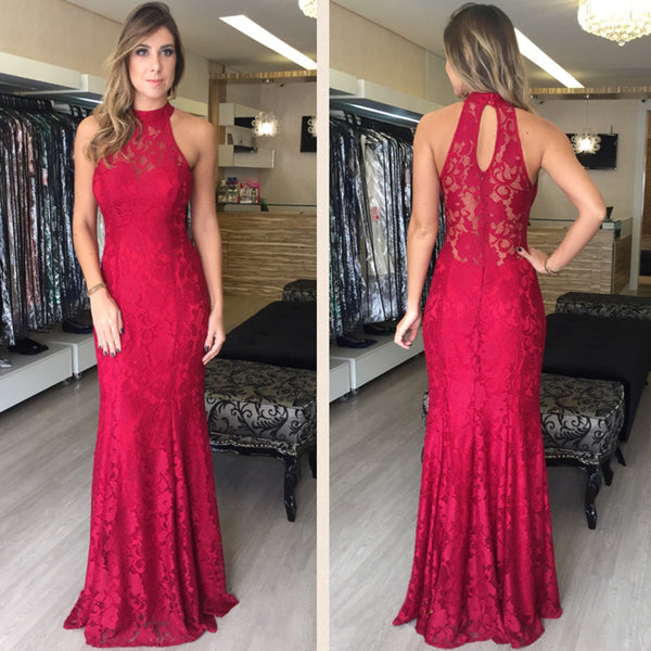 Red Lace Halter Mermaid Floor Length Prom Dresses, PM0177 - Prom Muse