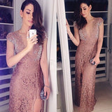 Cap Sleeve Lace Deep V Neck Split Long Prom Dresses, PM0178 - Prom Muse