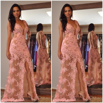 One Shoulder Long Sleeve Lace Sexy Split Long Prom Dresses, PM0179