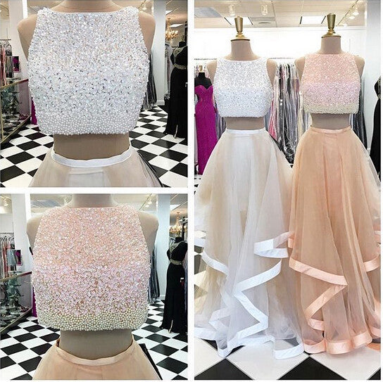 Two Pieces Beaded Top Teenage Popular Long Prom Dresses, PM0017
