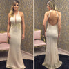 Backless Halter Unique Mermaid Floor Length Prom Dresses, PM0180 - Prom Muse