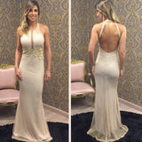 Backless Halter Unique Mermaid Floor Length Prom Dresses, PM0180