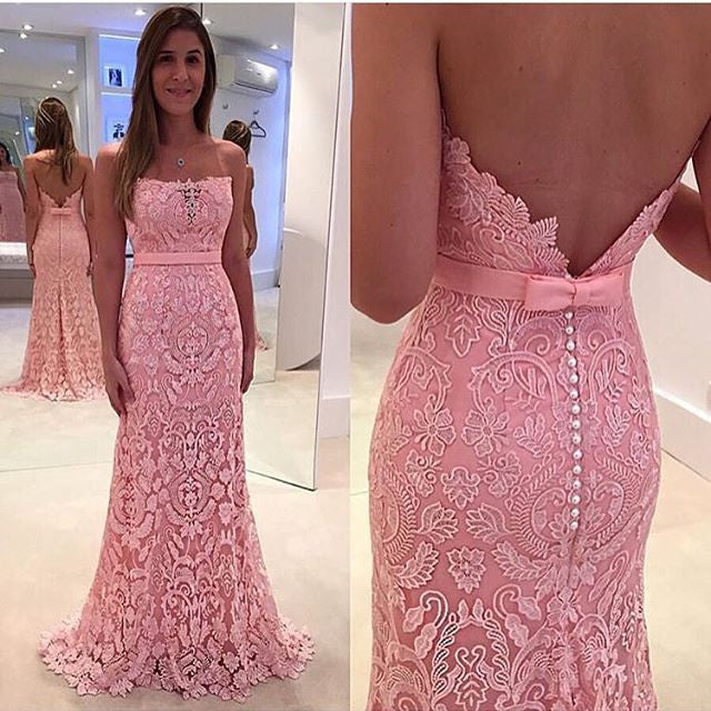 Pink Straight Neckline Formal Long Lace Prom Dresses, PM0181 - Prom Muse