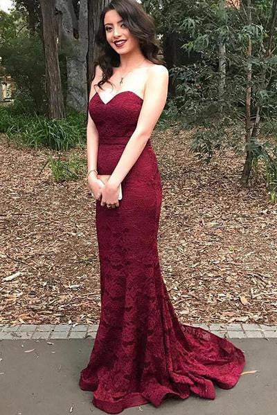 Burgundy Sweetheart Mermaid Long Lace Prom Dresses, PM0183 - Prom Muse