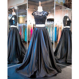 2 Pieces Cap Sleeves Beaded Elegant Long Cheap Prom Dresses, PM0185