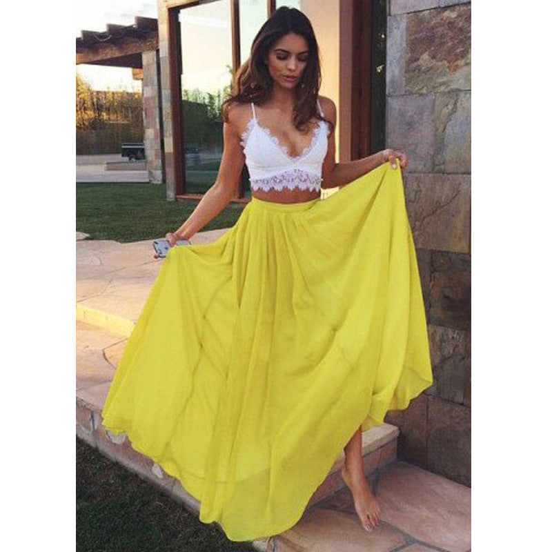 Two Pieces White Yellow Chiffon Lace Long Beach Prom Dresses, PM0186