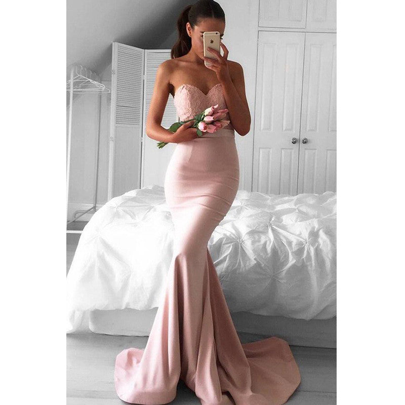 Mermaid Sweetheart Lace Top Long Bridesmaid Prom Dresses, PM0187