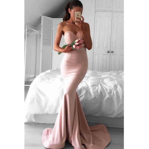 Mermaid Sweetheart Lace Top Long Bridesmaid Prom Dresses, PM0187 - Prom Muse