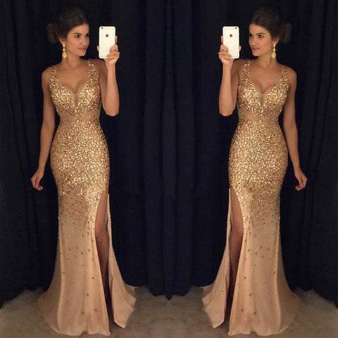 Golden Heavy Beaded Side Slit Sexy Mermaid Long Prom Dresses, PM0018