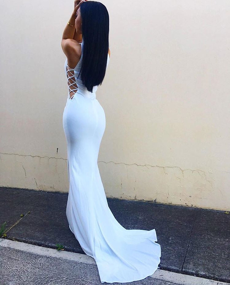 Affordable White Mermaid Sexy High Neck Long Prom Dresses, PM0190