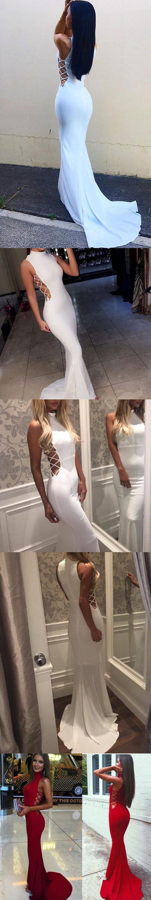 Affordable White Mermaid Sexy High Neck Long Prom Dresses, PM0190 - Prom Muse