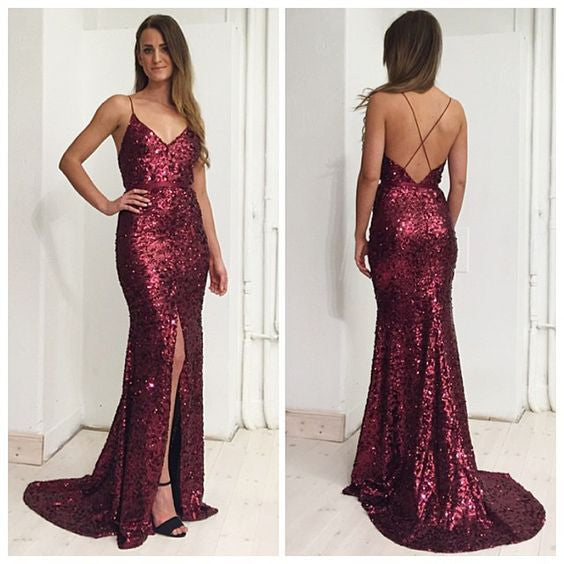 Burgundy Sequin Side Slit Sexy Cheap Long Prom Dresses, PM0191