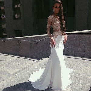 White Mermaid Long Sleeves Seen Through Long Prom Dresses, PM0192