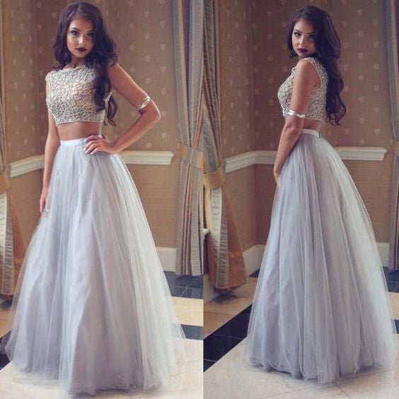 Two Pieces Silver Grey Long Tulle Cheap Prom Dresses, PM0194