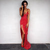 Cheap Red Sexy Side Split Backless long Evening Prom Dresses, PM0196 - Prom Muse