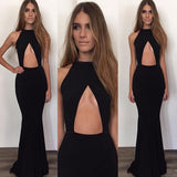 Sexy Black Mermaid Simple Cheap Long Prom Dresses, PM0199