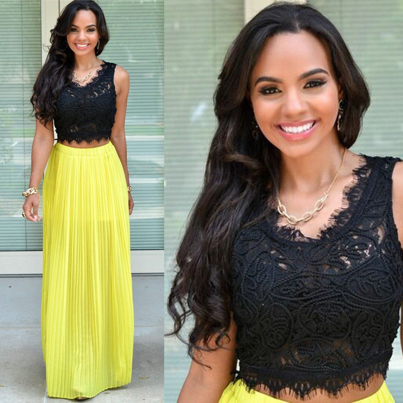 Two Pieces Black Lace Yellow Chiffon Unique Long Prom Dresses, PM0019