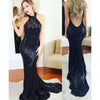 Gorgeous Sparkly Navy Open Back Mermaid Sequin Long Prom Bridesmaid Dress, PM0118 - Prom Muse