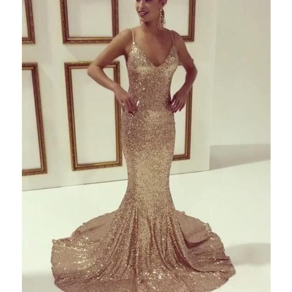 Sexy Cheap Sequin Mermaid Long Evening Prom Dresses, PM0269