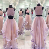 Two Pieces Beaded Top Pretty Long Prom Dress, PM0002