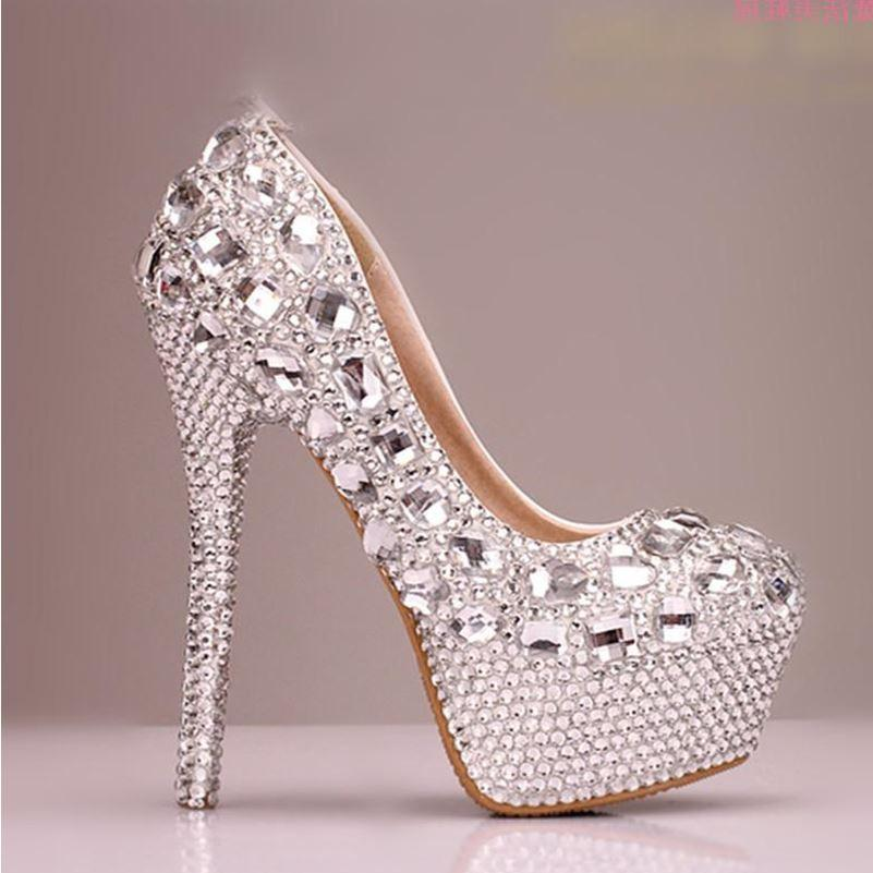 High Heels Handmade Fully Rhinestone Pointed Toe Crystal Wedding Shoes, S031 - Prom Muse