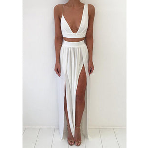 Beach White Two Pieces Split Sexy Long Prom Dresses, PM0200 - Prom Muse