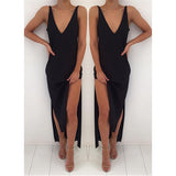 V Neck Side Split Black Cheap Beach Party Long Prom Dresses, PM0201