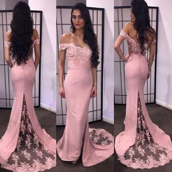 Off the Shoulder Lace Blush Pink Long Bridesmaid Dresses, PM02010