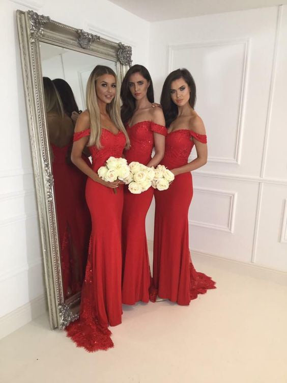 Red Off the Shoulder Lace Mermaid Long Bridesmaid Dresses, PM0202 - Prom Muse