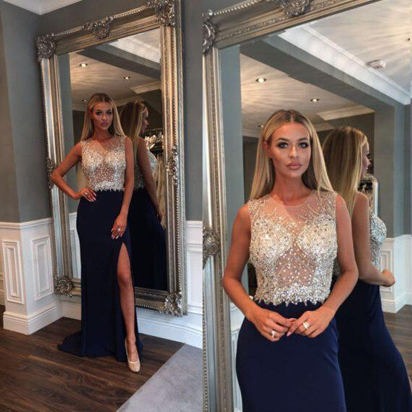 Black Side Split Sparkly Beaded Top Long Evening Prom Dresses, PM0203 - Prom Muse