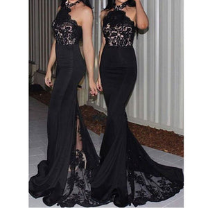 Black Halter Lace Mermaid Long Bridesmaid Dresses for Wedding, PM02030