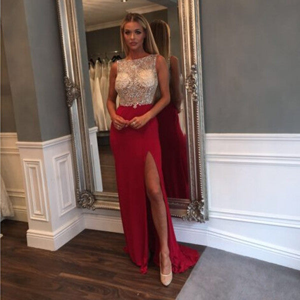 Red Side Split Sparkly Beaded Top Long Evening Prom Dresses, PM0204 - Prom Muse
