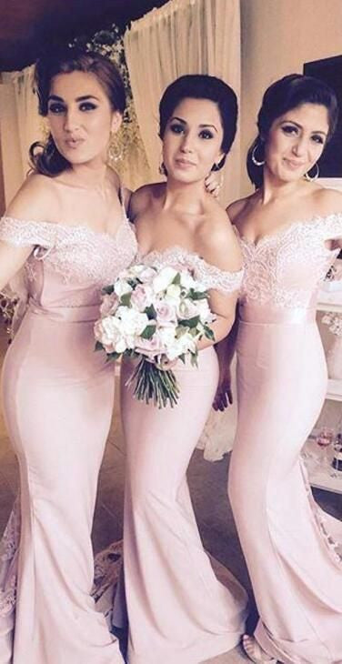 Blush Pink Off the Shoulder Lace Long Wedding Party Dresses, PM02050 - Prom Muse