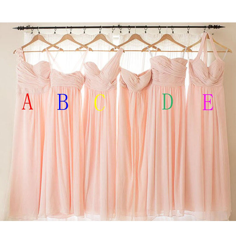Blush Pink Mismatched Chiffon Cheap Long Bridesmaid Dresses, PM0206