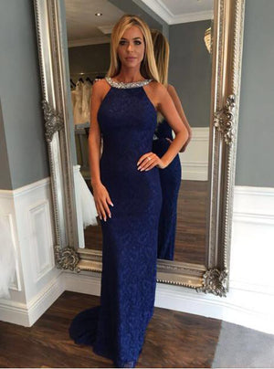 Royal Blue Mermaid Long Lace Prom Dresses, PM0207